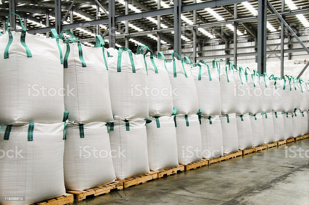 Stacks of sacks. stock photo