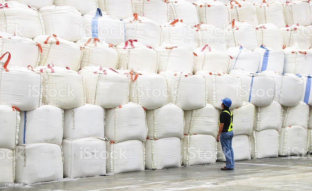 Stacks of sacks stock photo