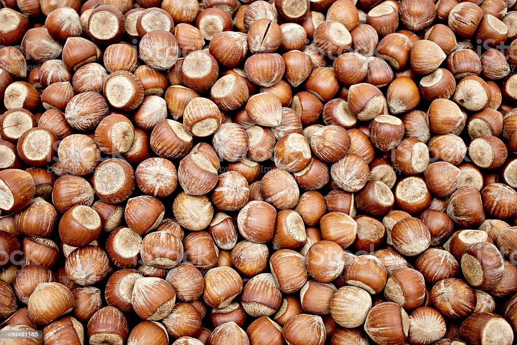Stacks of shelled nuts stock photo