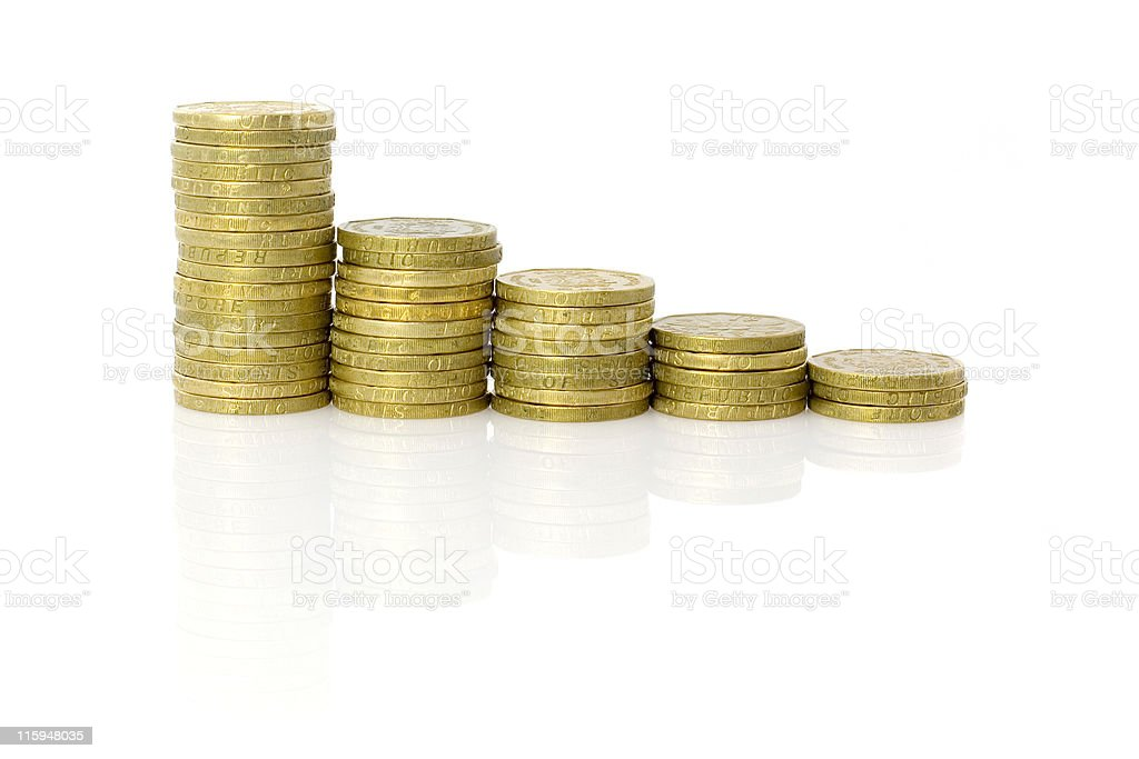 Stacks of Singapore coins stock photo