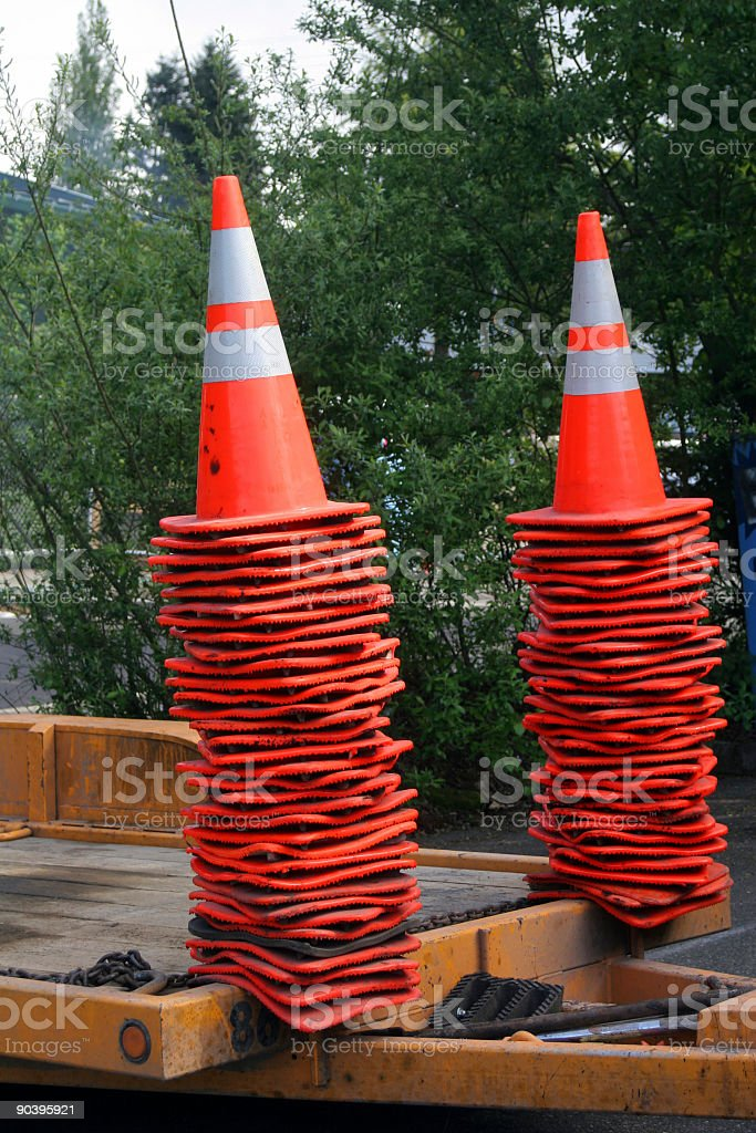 Stacks of traffic cones royalty-free stock photo