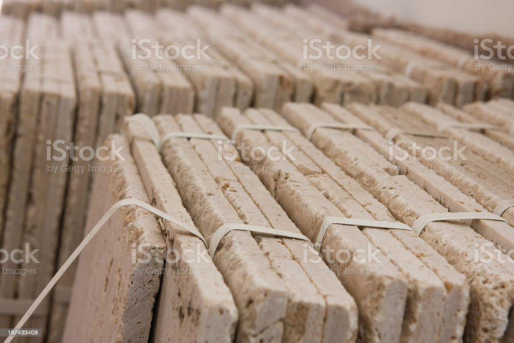 Stacks of Travertine Tile stock photo
