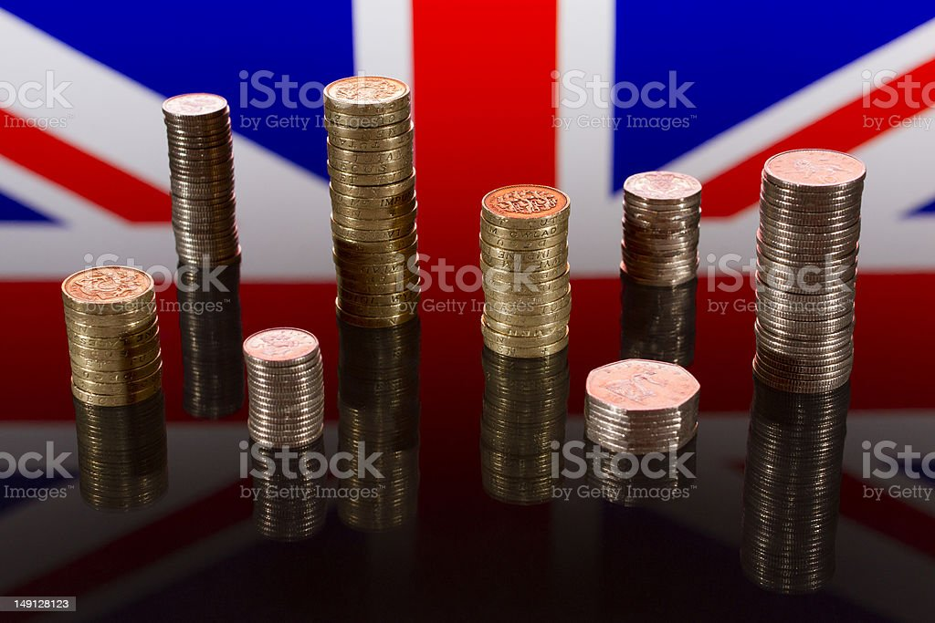 Stacks of UK Coins stock photo