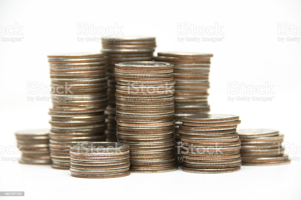 stacks of us coins royalty-free stock photo