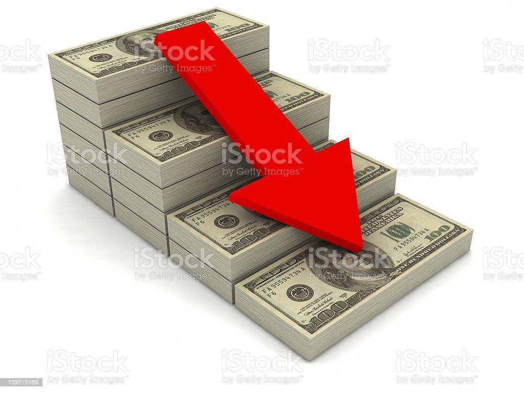Stacks of US hundred dollar bills decreasing in value  royalty-free stock photo