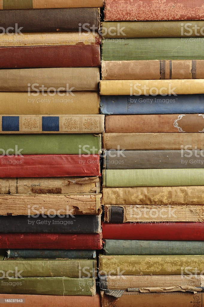 Stacks of Vintage Books (No Titles) #3 - Color royalty-free stock photo