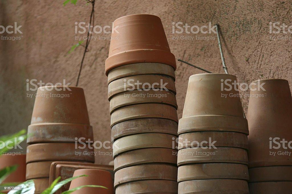 Stacks og terracotta flower pots in Roma royalty-free stock photo
