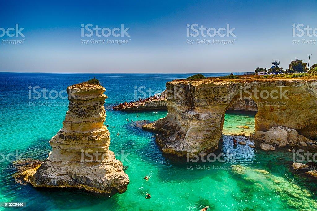 Stacks on the coast of Salento in Italy stock photo