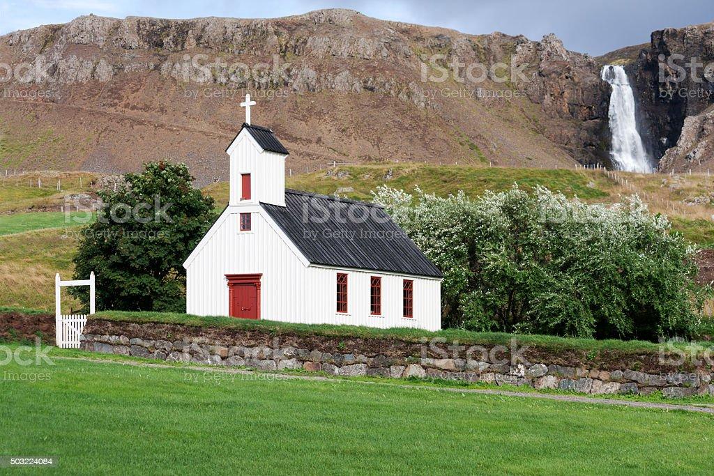Stadarkirkja a Reykjanesi, one of the many Icelandic churches. stock photo