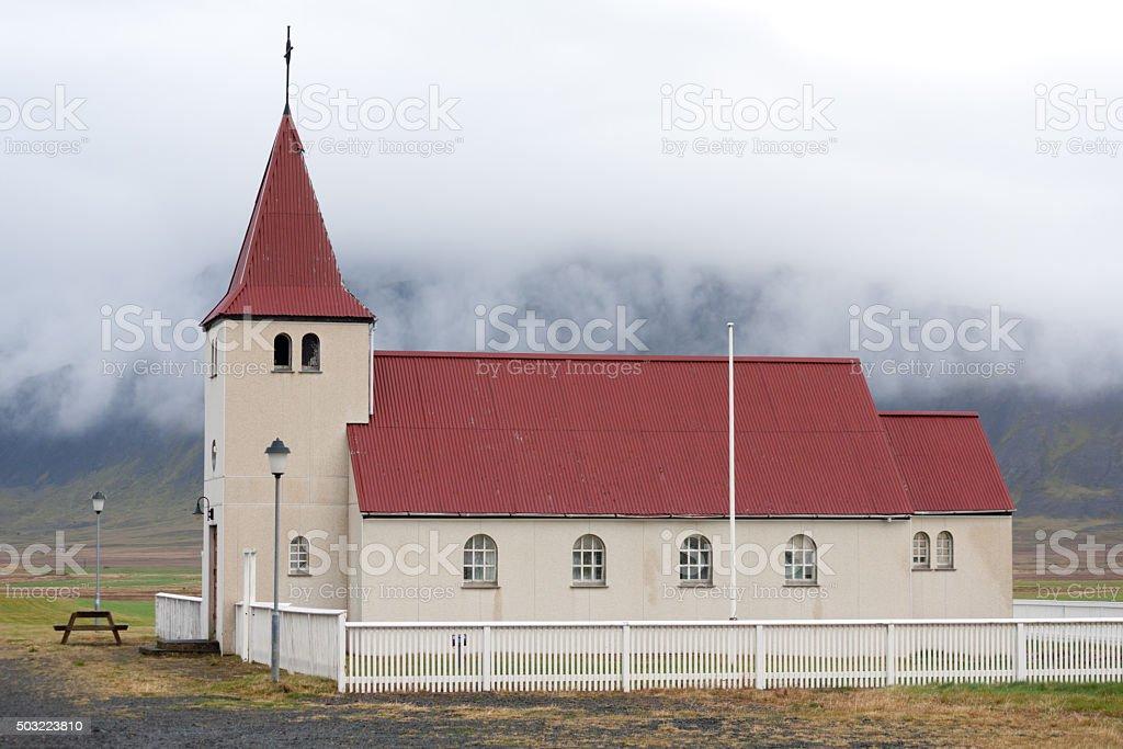 Stadastadarkirkja, one of the many Icelandic churches. stock photo