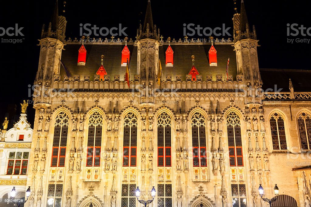 Stadhuis (City Hall) of Bruges at night, Belgium stock photo