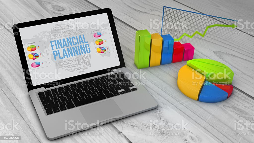 Stadistics charts and graphs with financial planning on a screem stock photo