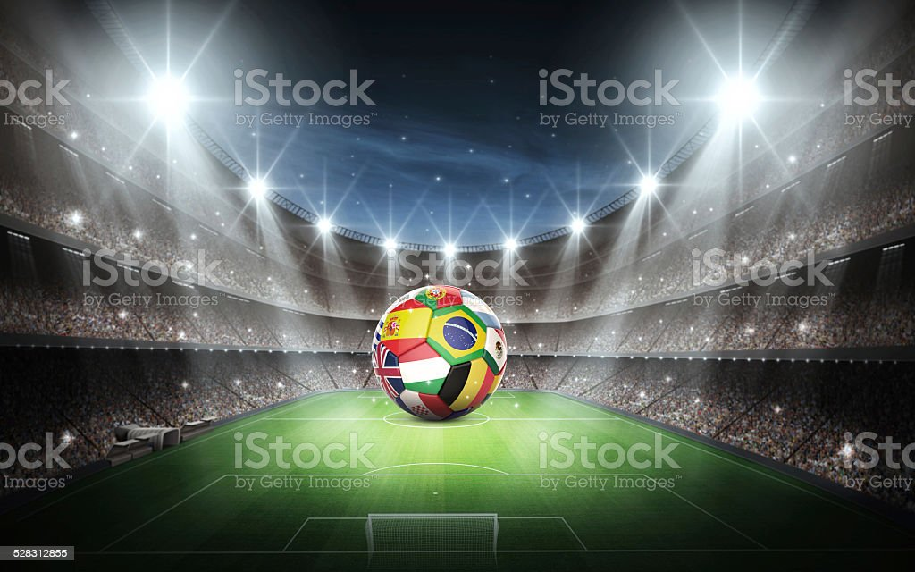 Stadium and national flags stock photo