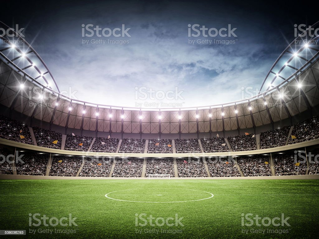 Stadium and sky stock photo