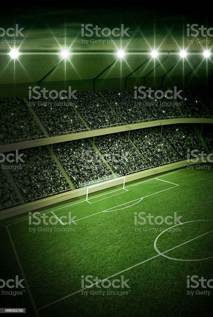Stadium at night stock photo