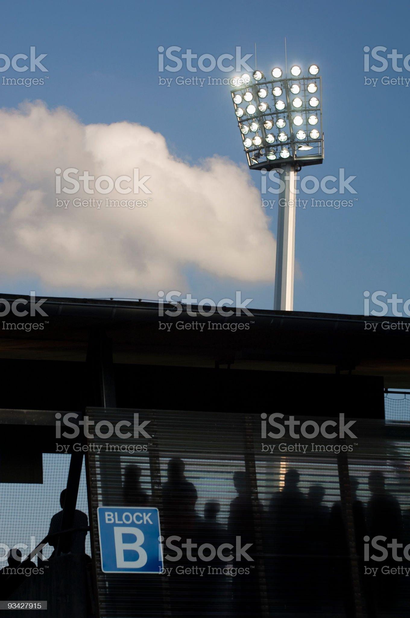 Stadium Block under Floodlight royalty-free stock photo