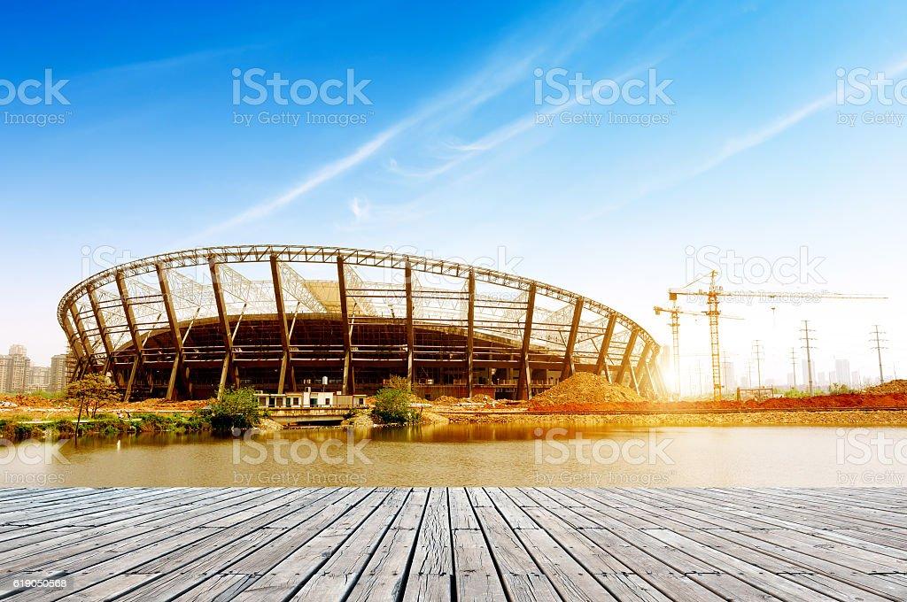 Stadium construction site stock photo