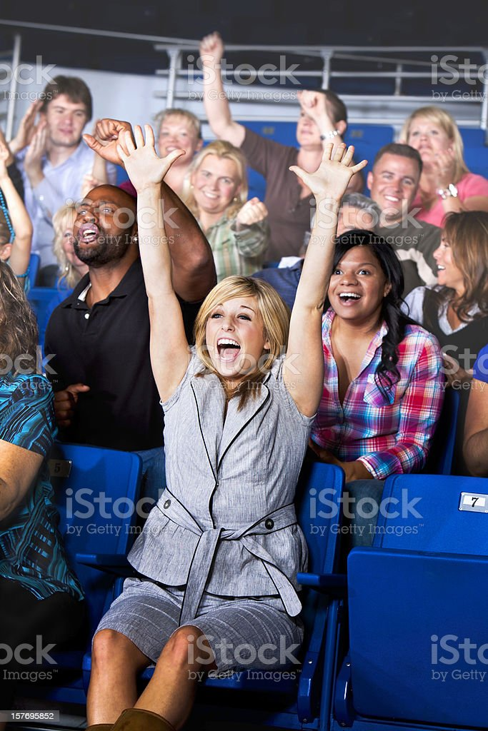Stadium Crowd Cheering on the Basket Ball Team! royalty-free stock photo
