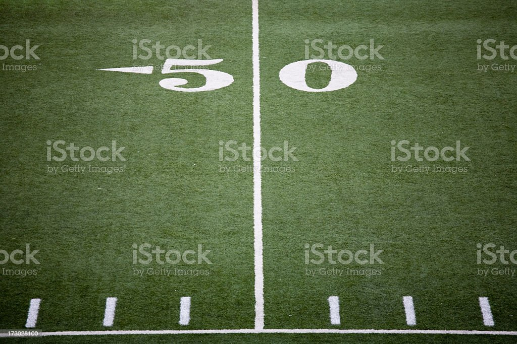 Stadium football field 50 yard line royalty-free stock photo