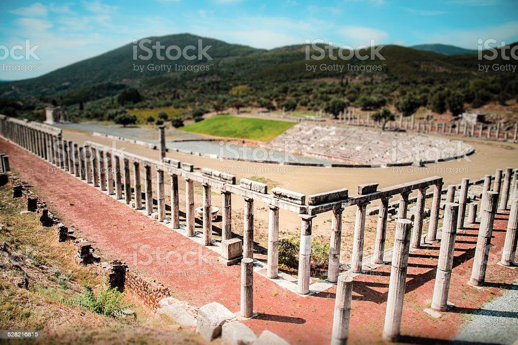 stadium in the city of Ancient Messina, Greece stock photo