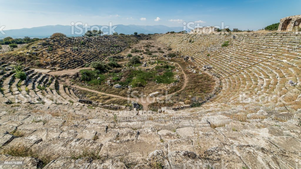 Stadium inside the ancient ruins of Aphrodisias in Geyre, Aydin stock photo