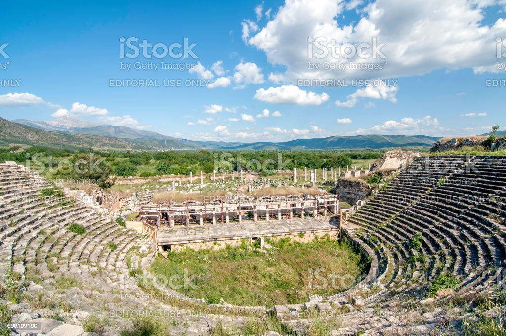 Stadium inside the ancient ruins of Aphrodisias in Geyre stock photo