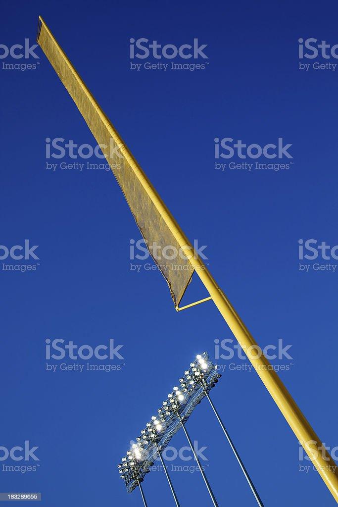 Stadium Lights and Foul Pole stock photo
