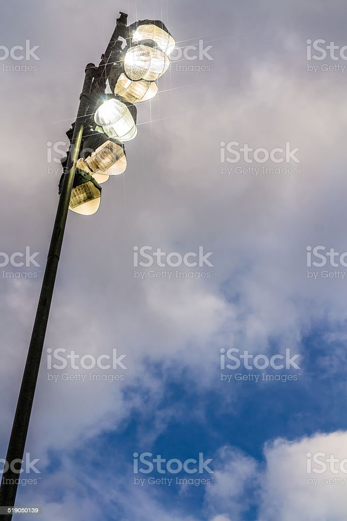 Stadium lights with reflectors stock photo
