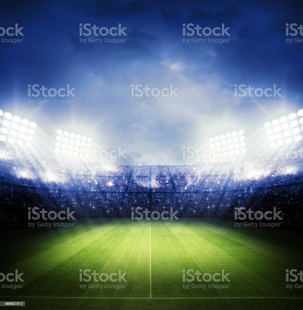 Stadium night stock photo