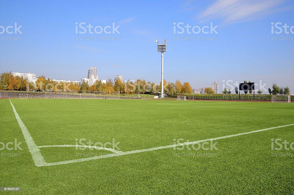 Stadium over a blue sky stock photo