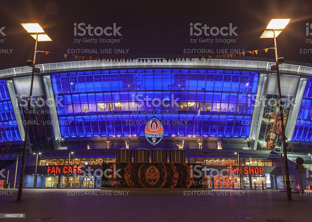 "Stadium ""Donbass-arena"" at night stock photo"
