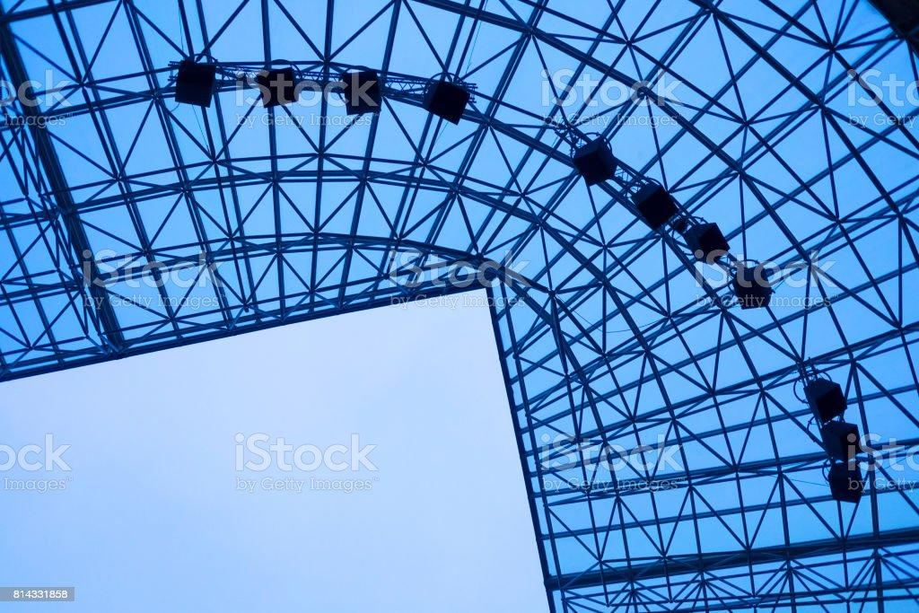 Stadium roof against blue sky stock photo