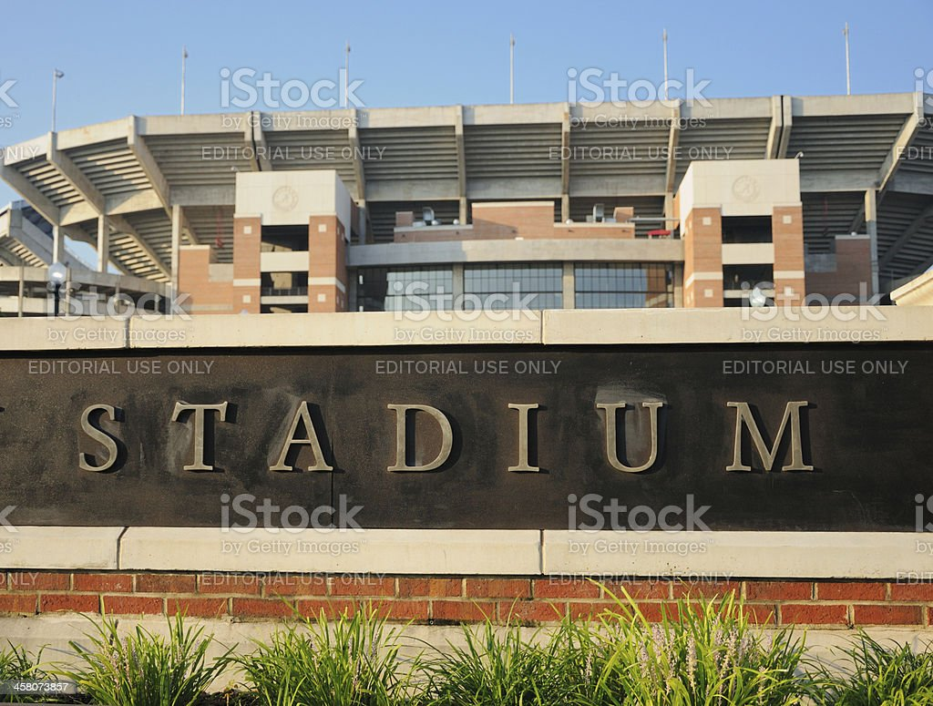 Stadium sign at Alabama stock photo