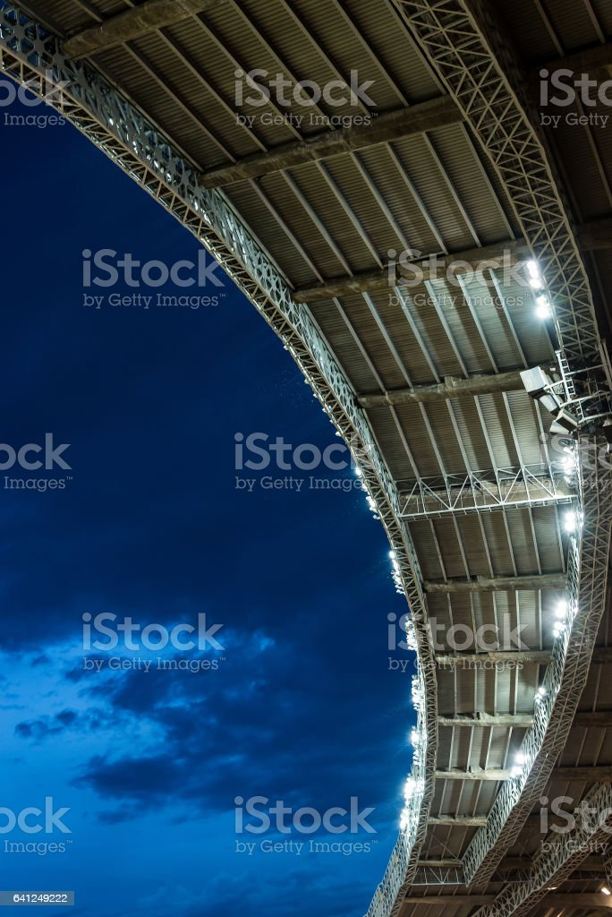 stadium soccer roof at night game with copy space stock photo