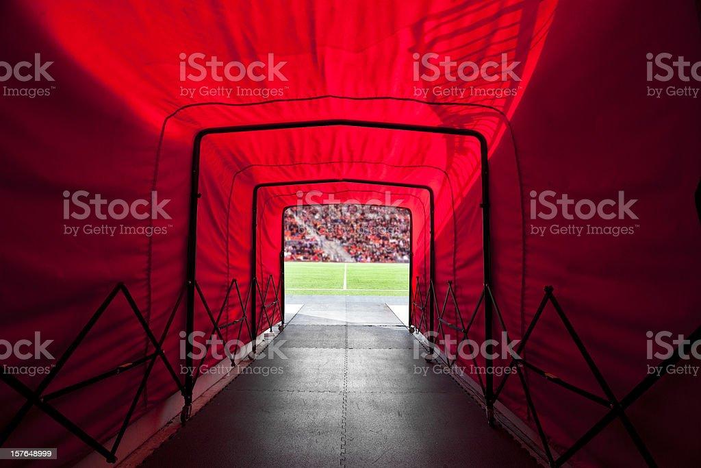 Stadium tunnel onto the field stock photo