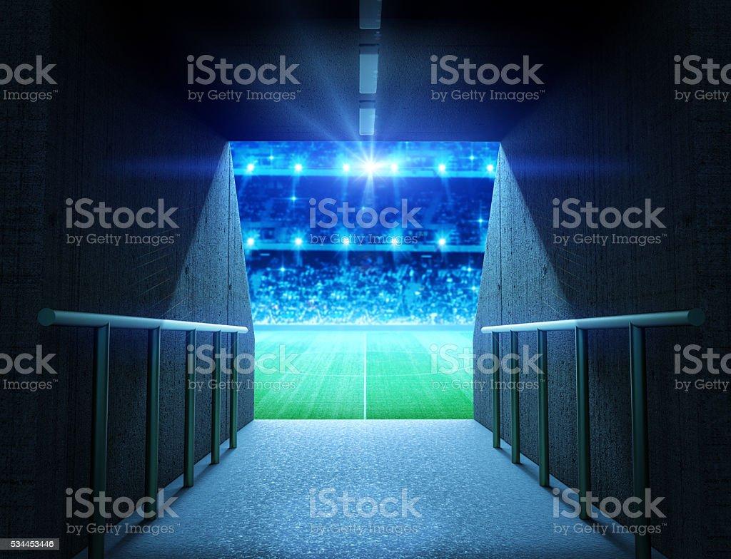 stadium tunnel stock photo