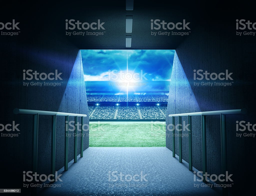 stadium tunnel stock photo
