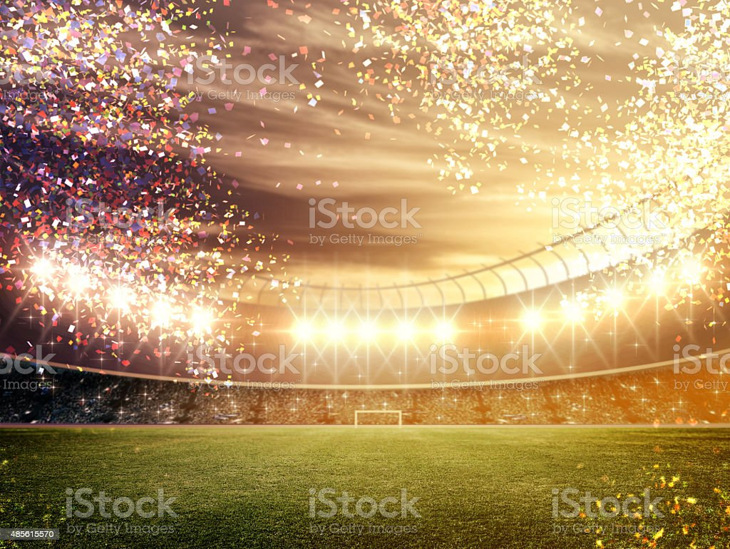 Stadium with confetti stock photo