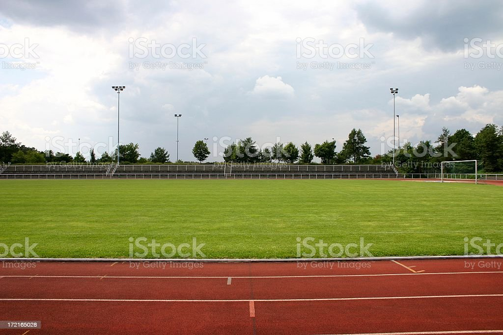 Stadium with running track around outside royalty-free stock photo