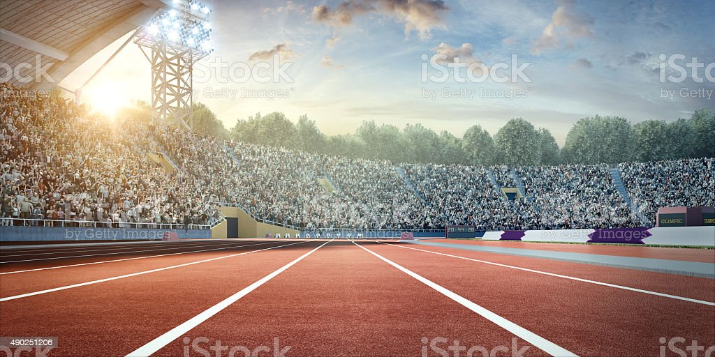 stadium with running tracks stock photo