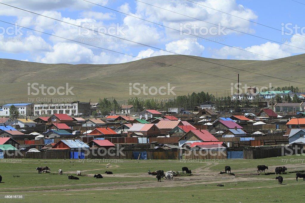 Stadt in der mongolischen Steppe royalty-free stock photo