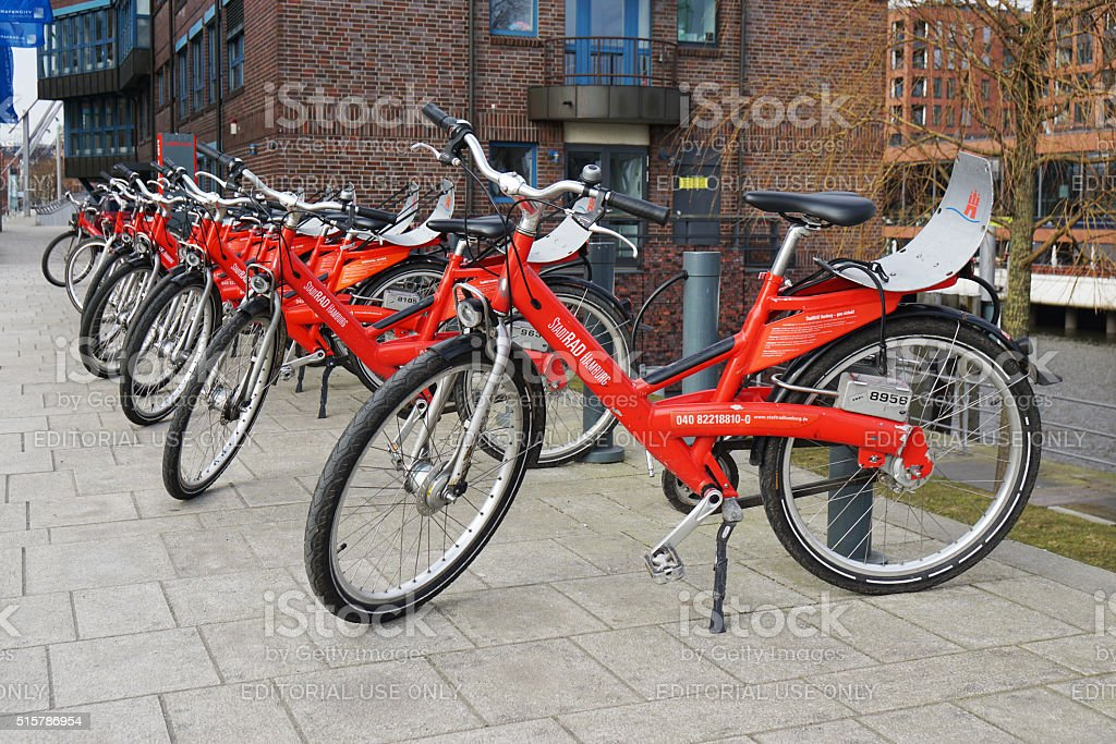 Stadtrad Hamburg bicycle sharing station stock photo
