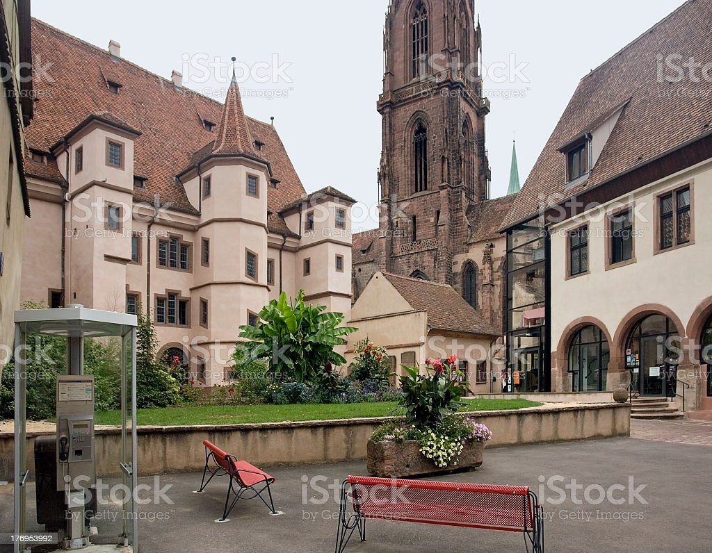 Stadtresidenz Ebersmunster and church in Sélestat royalty-free stock photo