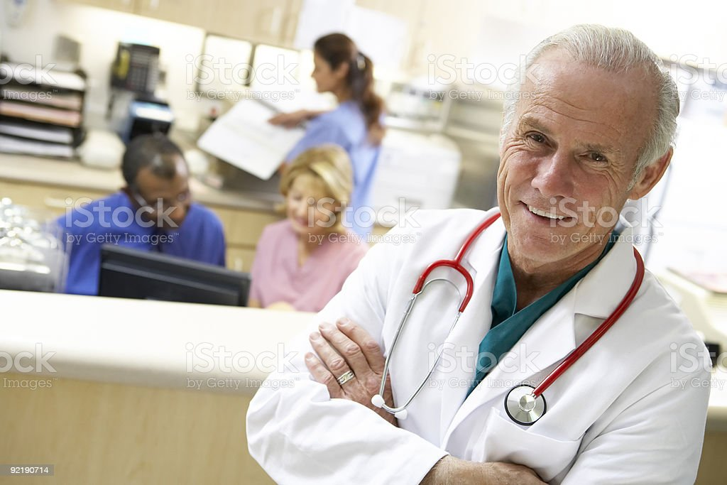 Staff At The Reception Area Of A Hospital royalty-free stock photo
