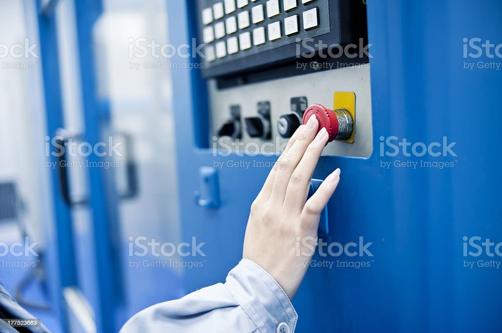 Staff in the operation of medical equipment stock photo