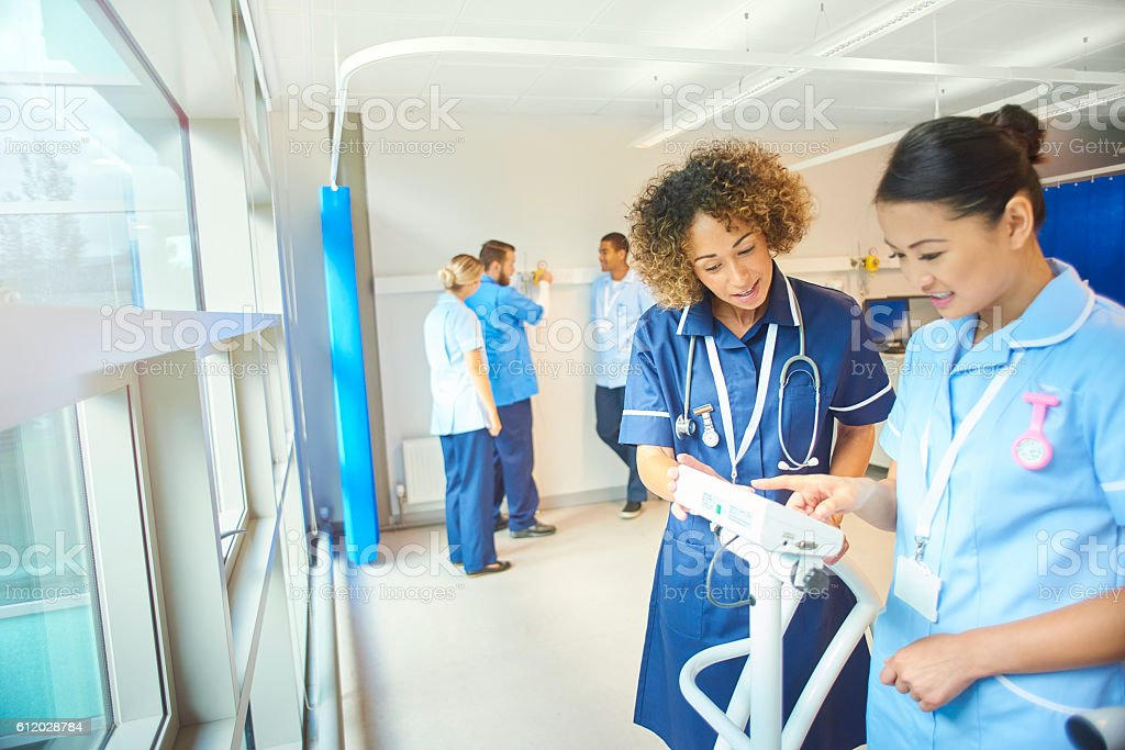 staff nurse team training young nurses stock photo