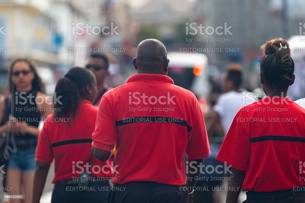 Staff of the Sécurité Incendie in action stock photo