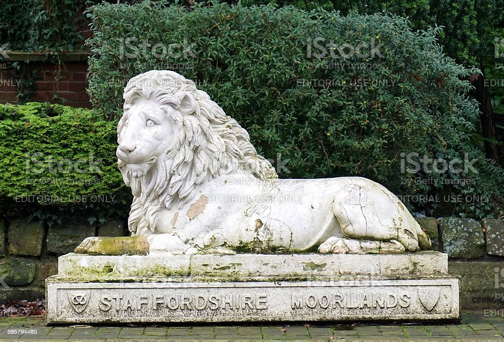 Staffordshire Moorlands Lion Statue, Leek, England stock photo