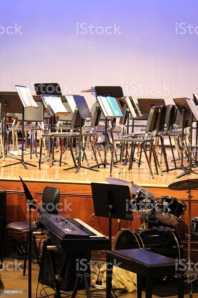 Stage area arranged for Band Concert: Keyboard and Drums stock photo