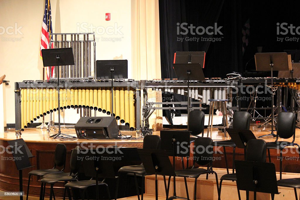 Stage arranged with Band Concert Equipment: Percussion Section stock photo